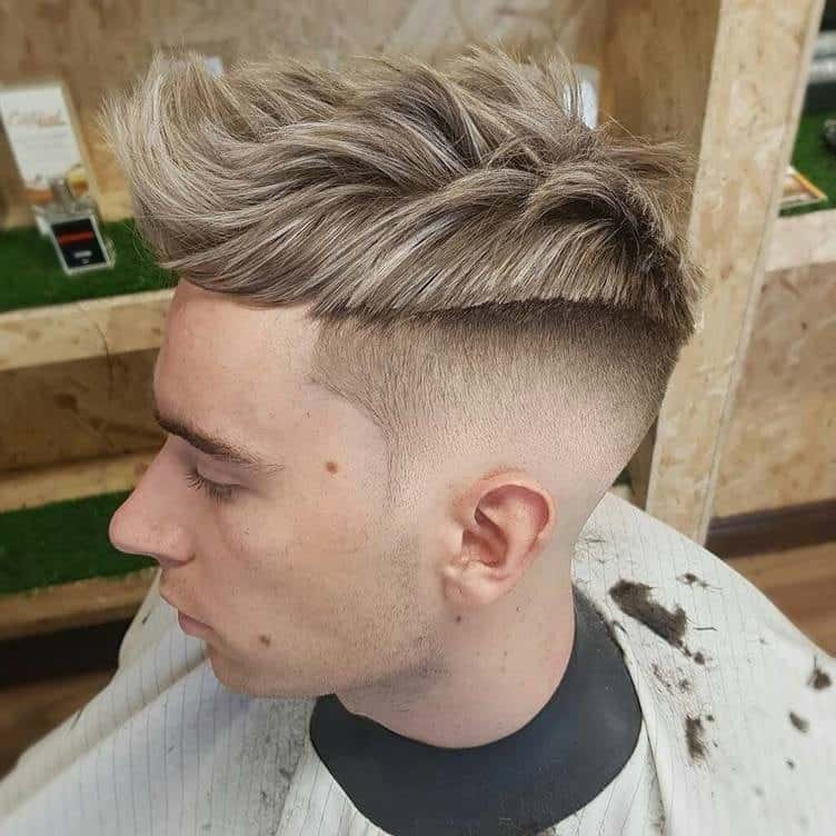 Skin Fade Comb Over with Soft Highlights