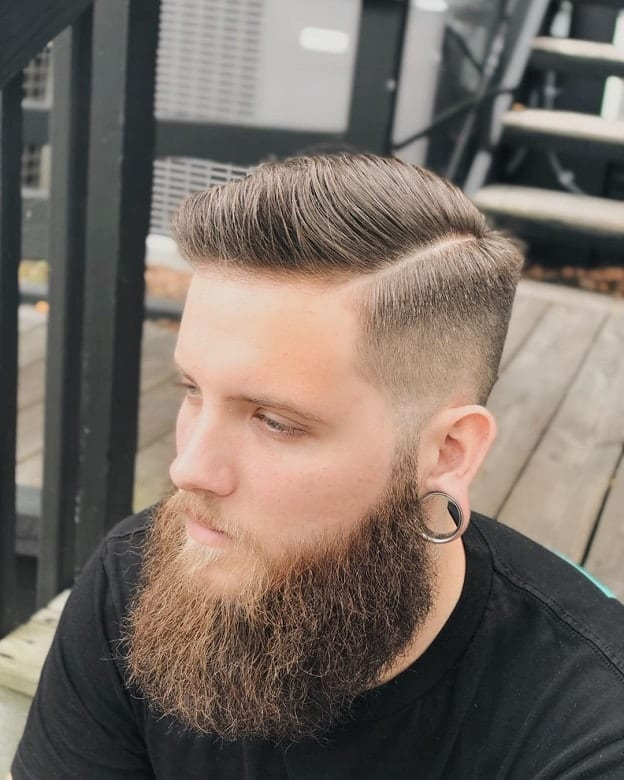 Classic Skin Fade Comb Over with Beard