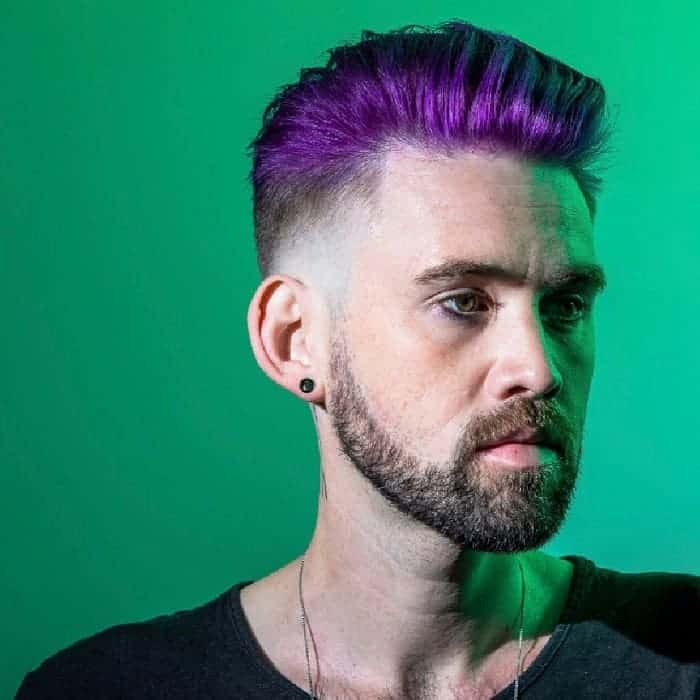 purple slick back fade hairstyles