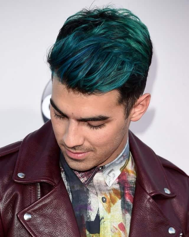 blue green slick back hairstyle