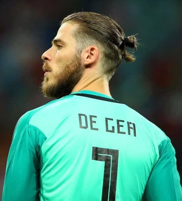 David De Gea's man bun hairstyle