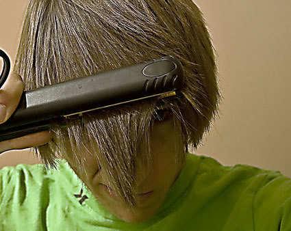 Image of straightening hair.
