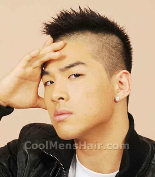 Photo of Taeyang (Dong Youngbae) Korean mohawk haircut.