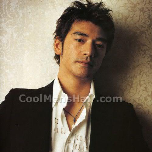 Takeshi Kaneshiro messy spiky hairstyle for Asian men