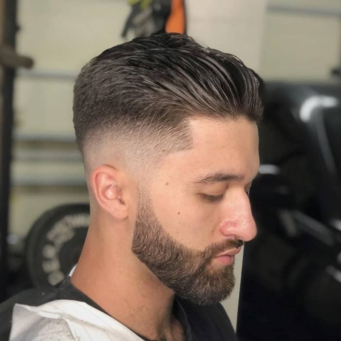 blowout comb back hair with taper fade