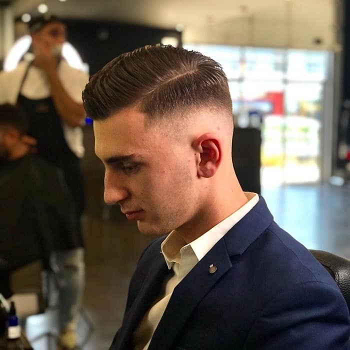 men's taper haircut with part