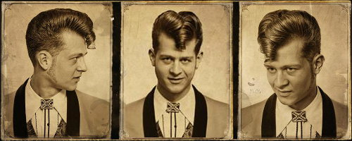 A teddy boy hair