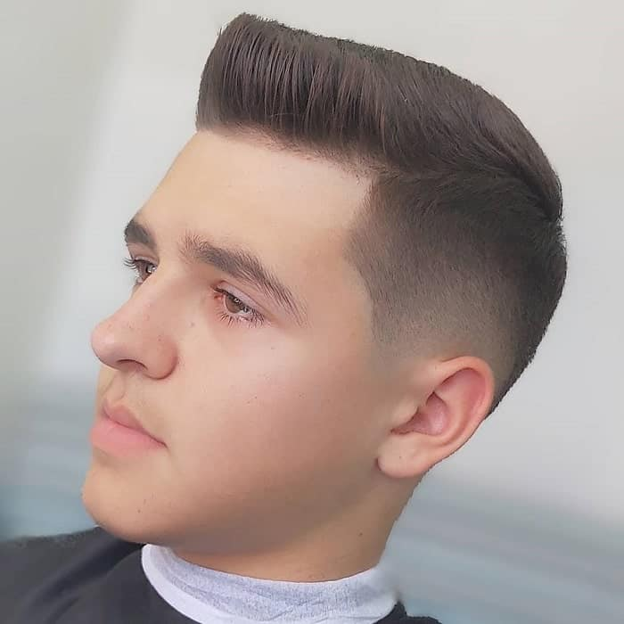 Temp Fade with Pompadour for Men