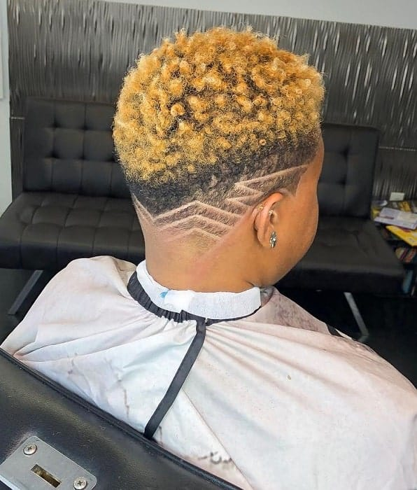 temp fade with Two Tone Curly Hair