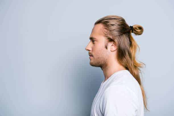 how to tie medium high man bun hair