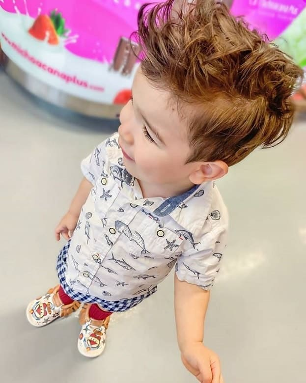 toddler with short messy hair