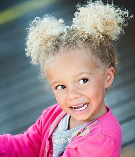 two-pony hairstyle for curly haired baby girl