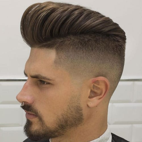 comb over undercut with pompadour