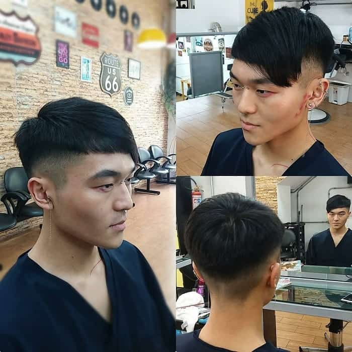 undercut fade with fringe