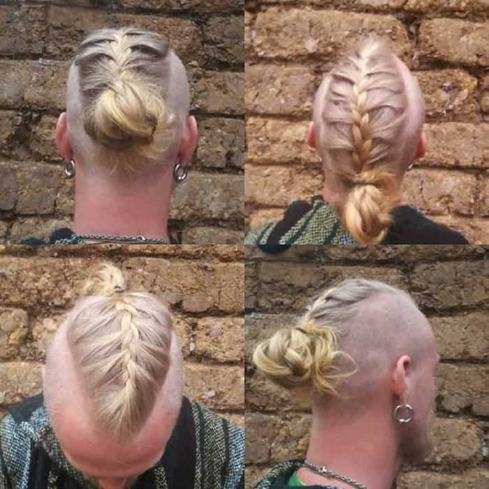 man bun undercut with french braids
