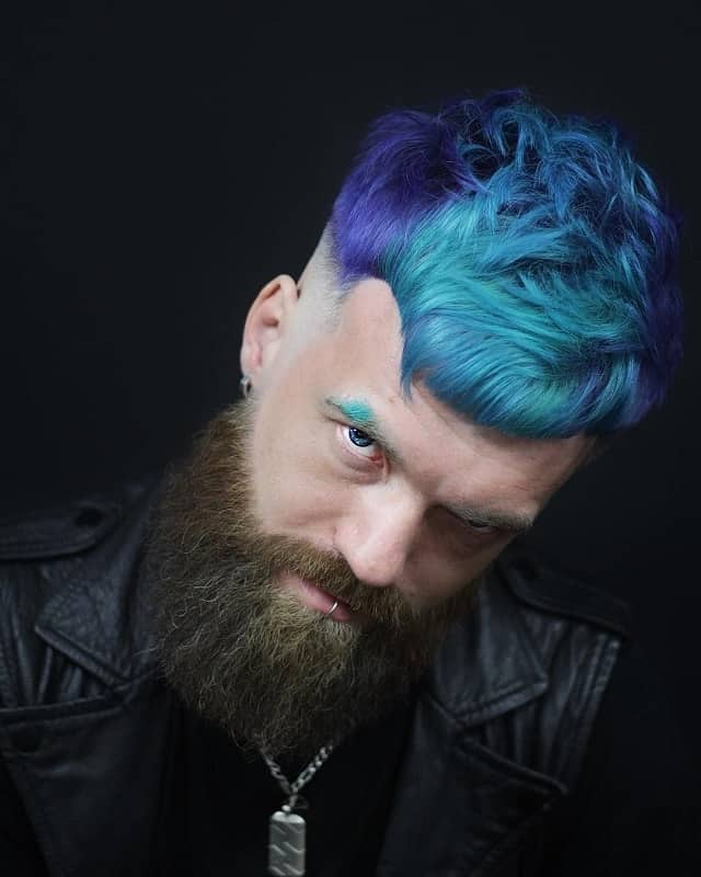 funky undercut hairstyle with full beard