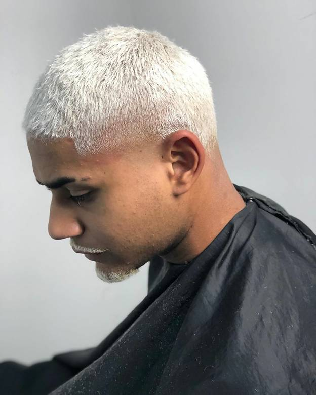 very short silver hairstyle for men