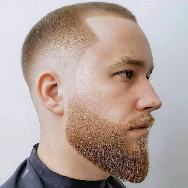 Men's Very Short Hairstyle with Beard