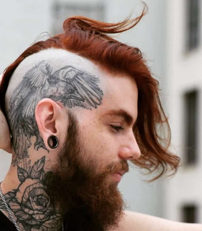 viking hairstyle with shaved side