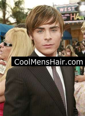 Zac Efron side swept fringe hairstyle for men